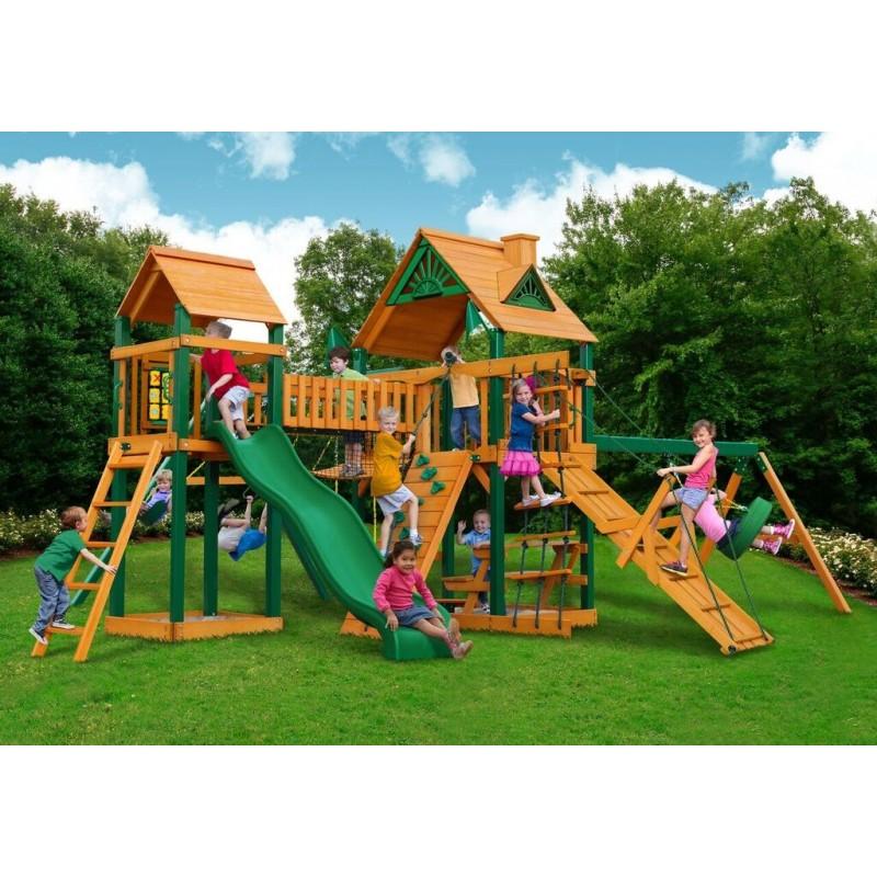 Gorilla Pioneer Peak Cedar Wood Swing Set Kit w/ Amber Posts and Standard Wood Roof - Amber (01-0006-AP)