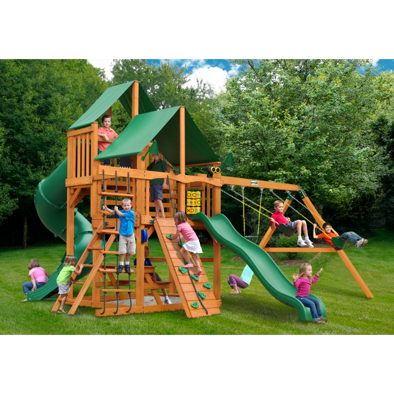 Gorilla Great Skye I Cedar Wood Swing Set Kit w/ Amber Posts and Deluxe Green Vinyl Canopy - Amber (01-0030-AP-1)