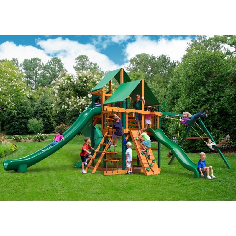 Gorilla Great Skye II Cedar Wood Swing Set Kit w/ Timber Shield™ and Deluxe Green Vinyl Canopy - Amber (01-0031-TS-1)