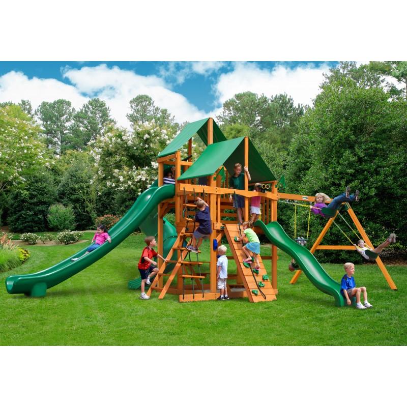 Gorilla Great Skye II Cedar Wood Swing Set Kit w/ Amber Posts and Deluxe Green Vinyl Canopy - Amber (01-0031-AP-1)