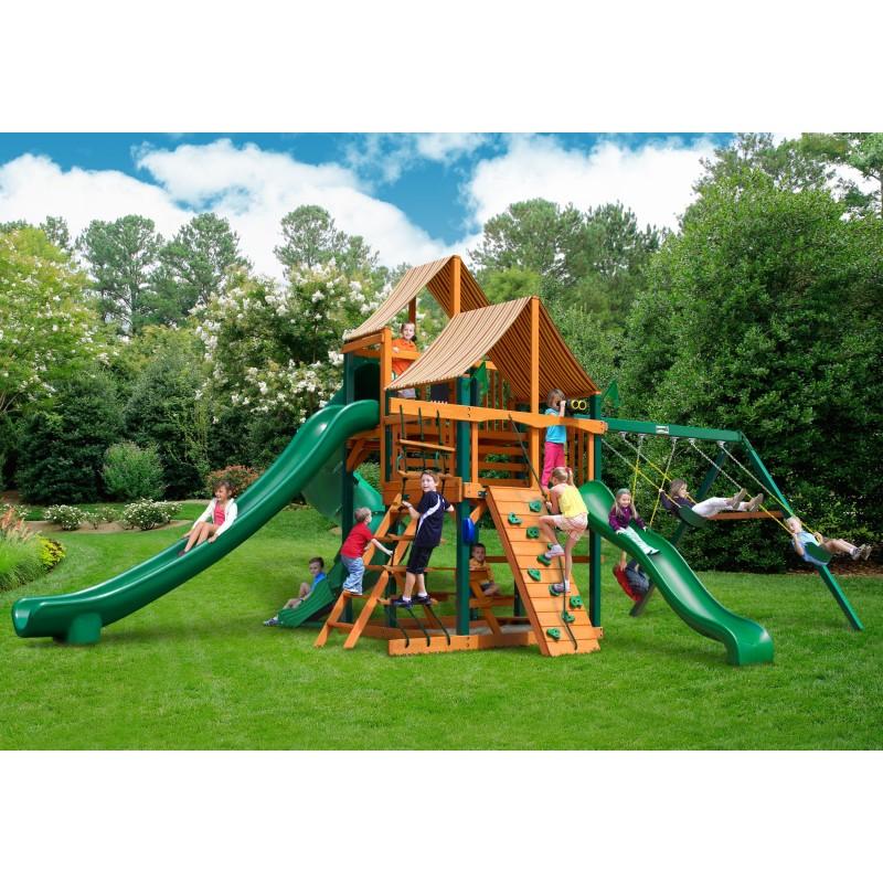 Gorilla Great Skye II Cedar Wood Swing Set Kit w/ Timber Shield™ and Sunbrella® Weston Ginger Canopy - Amber (01-0031-TS-3)