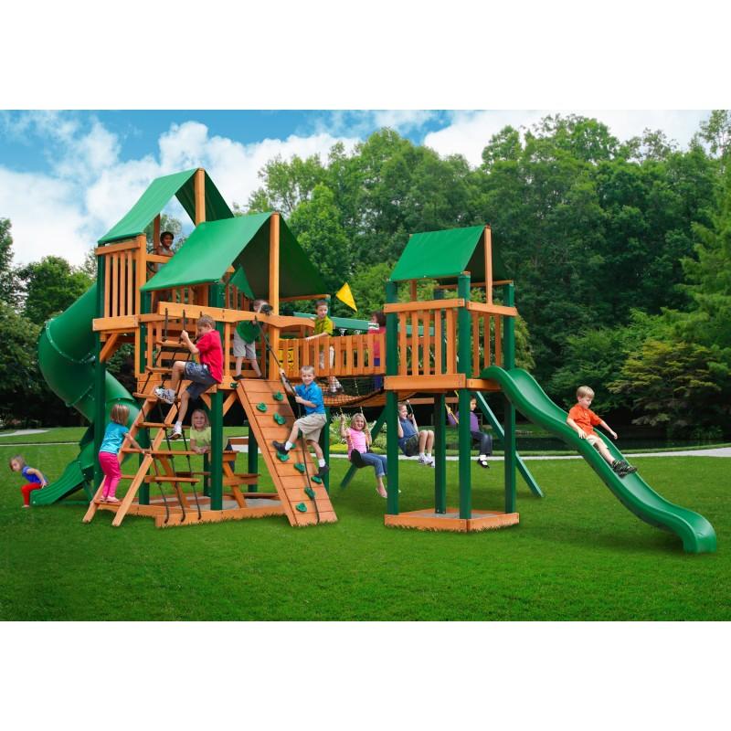 Gorilla Treasure Trove Cedar Wood Swing Set Kit w/ Timber Shield™ and Deluxe Green Vinyl Canopy - Amber (01-1021-TS-1)