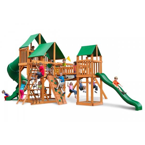 Gorilla Treasure Trove Cedar Wood Swing Set Kit W Amber