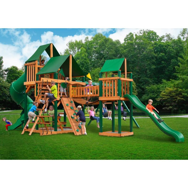 Gorilla Treasure Trove Cedar Wood Swing Set Kit w/ Timber Shield™ & Sunbrella® Canvas Forest Green Canopy - Amber (01-1021-TS-2)