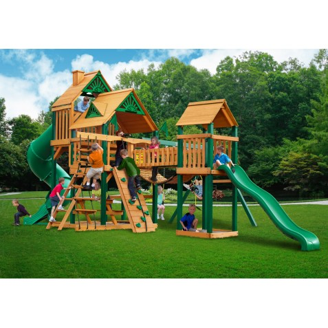 Gorilla Treasure Trove Cedar Wood Swing Set Kit w/ Timber Shield™ and Standard Wood Roof - Amber (01-1021-TS)
