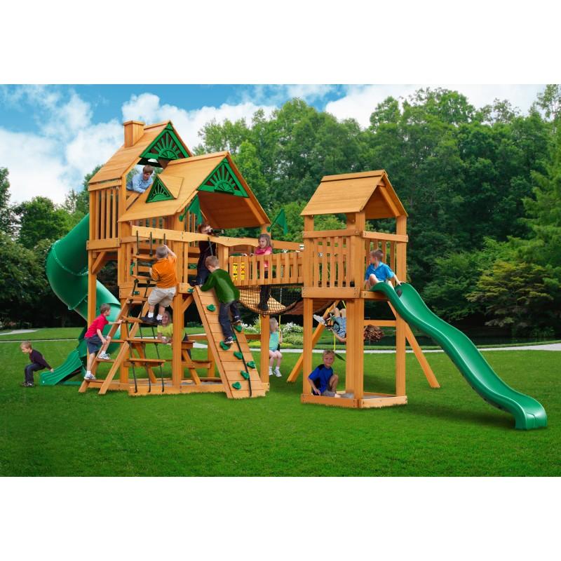 Gorilla Treasure Trove Cedar Wood Swing Set Kit w/ Amber Posts and Standard Wood Roof - Amber (01-1021-AP)