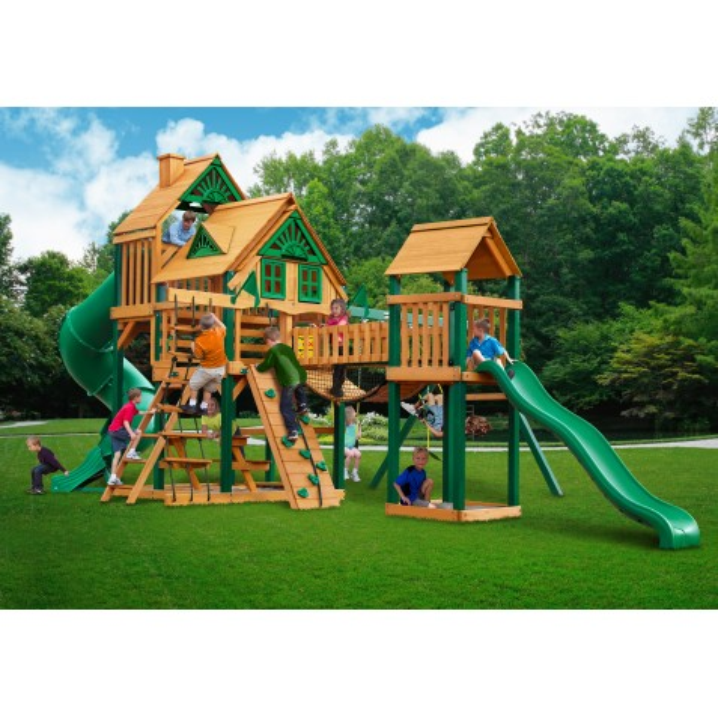 Gorilla Treasure Trove Treehouse Cedar Wood Swing Set Kit w/ Timber Shield™ - Amber (01-1037-TS)