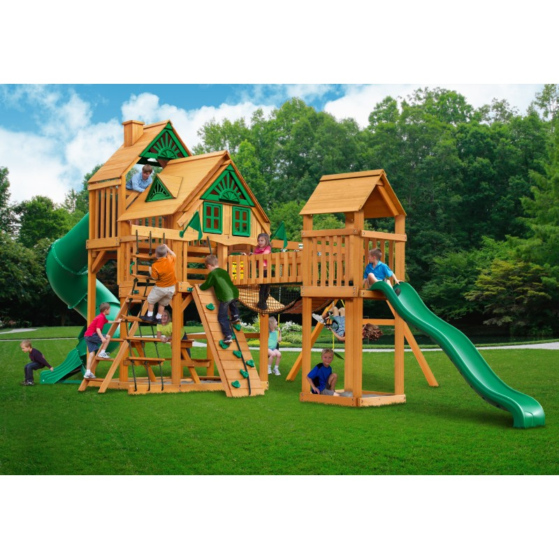 Gorilla Treasure Trove Treehouse Cedar Swing Set   w/ Amber Posts - Amber (01-1037-AP)