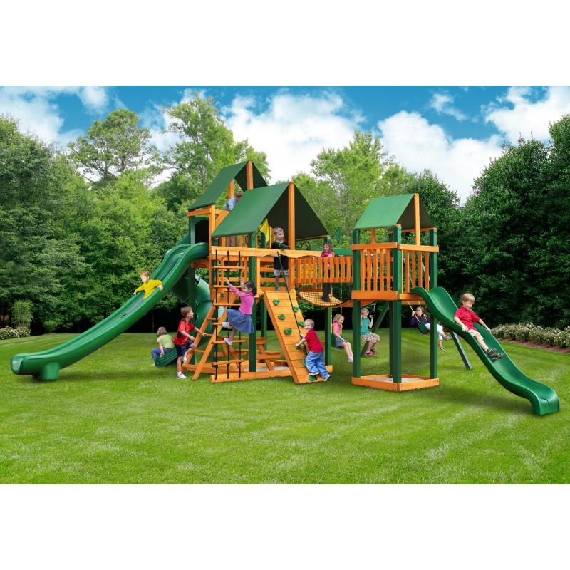Gorilla Treasure Trove II Cedar Wood Swing Set Kit w/ Timber Shield™ & Sunbrella® Forest Green Canopy - Amber 01-1034-TS-2