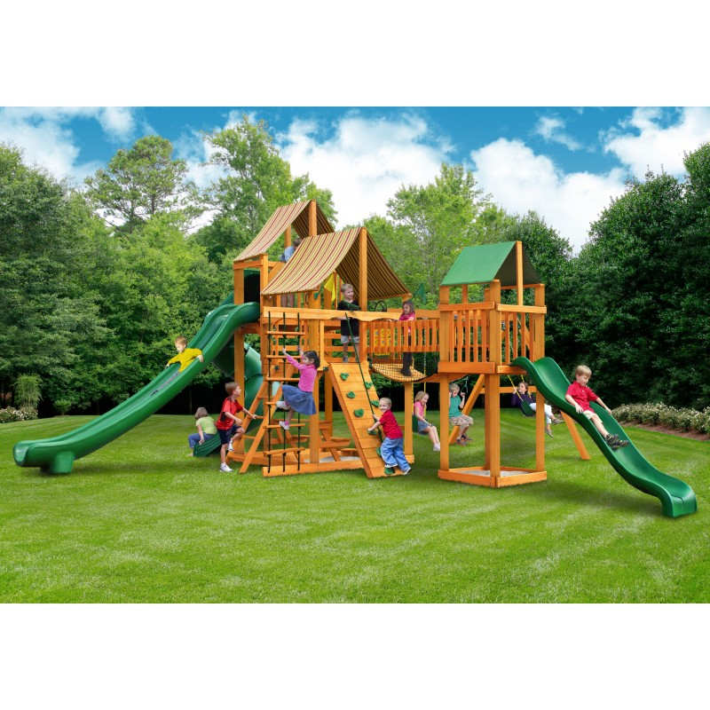 Gorilla Treasure Trove II Cedar Wood Swing Set Kit w/ Amber Posts and and Sunbrella® Weston Ginger Canopy - Amber (01-1034-AP-3)