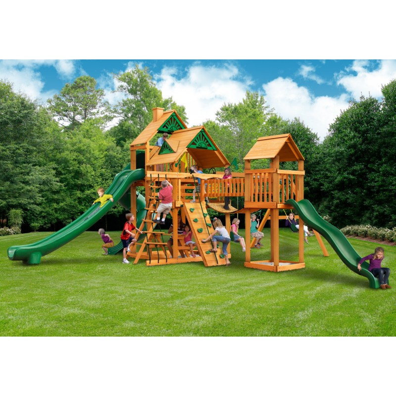 Gorilla Treasure Trove II Cedard Wood Swing Set Kit w/ Amber Posts and Standard Wood Roof - Amber (01-1034-AP)