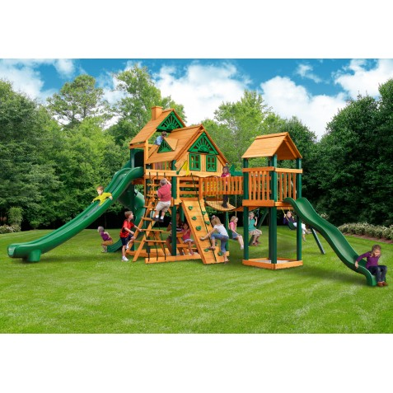 Gorilla Treasure Trove II Treehouse Cedar Wood Swing Set Kit w/ Timber Shield™ - Amber (01-1038-TS)