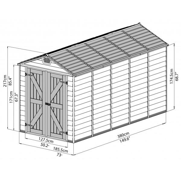 Palram 6x12 Skylight Storage Shed Kit Tan Hg9612t
