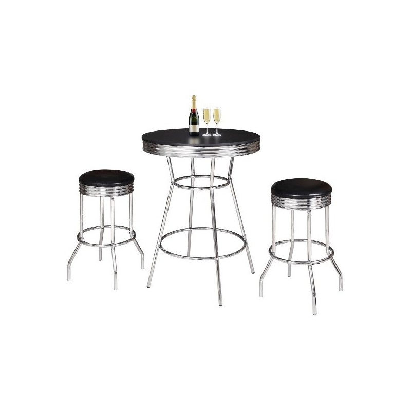 Blue Wave Remington 3 Piece Pub Table Set - Chrome and Black (NG2725BL)