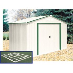 DuraMax 10x8 DelMar Metal Storage Shed w/ Floor Kit - Neutral Ivory with Green Trim (50212)