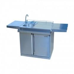 Leisure Season Outdoor Kitchen Cart & Beverage Center With Fridge & Sink (OKC158)