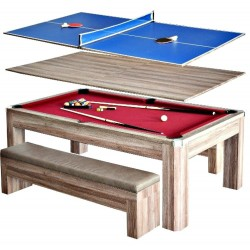 Carmelli Newport 7-Ft Pool Table Combo Set with Benches (NG2535P)