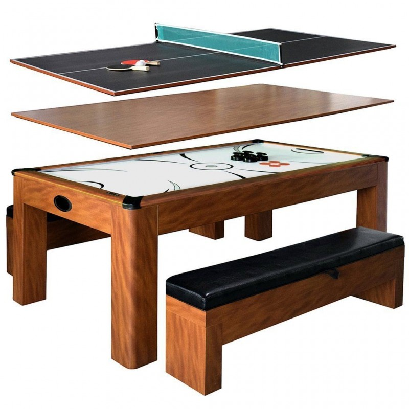 Carmelli Sherwood 7ft Air Hockey/Tennis Table with Benches (NG2422H)