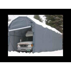 Rhino Shelter Barn -12'W x 20'L x 12'H - Gray (model PB122012BGY)