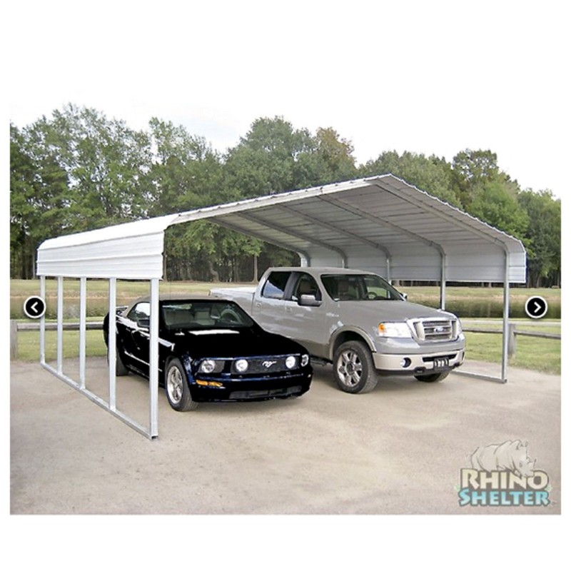 Rhino Shelter 22'W x 24'L x 12'H Two Car Steel Carport Kit (model ST222412H)