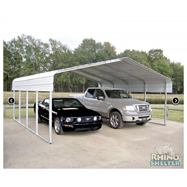 Rhino Shelter 22 W X 24 L X 12 H Two Car Steel Carport Kit