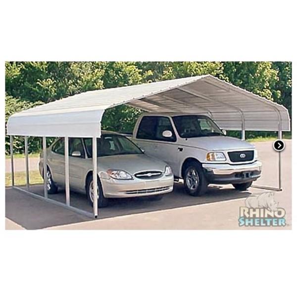2 Car Metal Carport Kits : Rhino shelter w l h two car steel carport kit