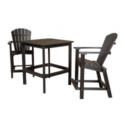 "Little Cottage Co. Classic High 34"" sq Patio Dining Table 2-26"" Chairs (LCC-288)"