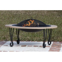 Fire Sense Cast Iron Rim Stone Finish Fire Pit (02115)