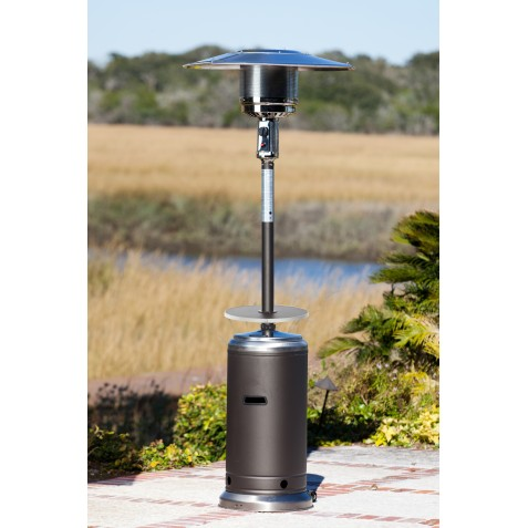 Fire Sense Mocha And Stainless Steel Standard Series Patio Heater With Adjustable Table (61734)