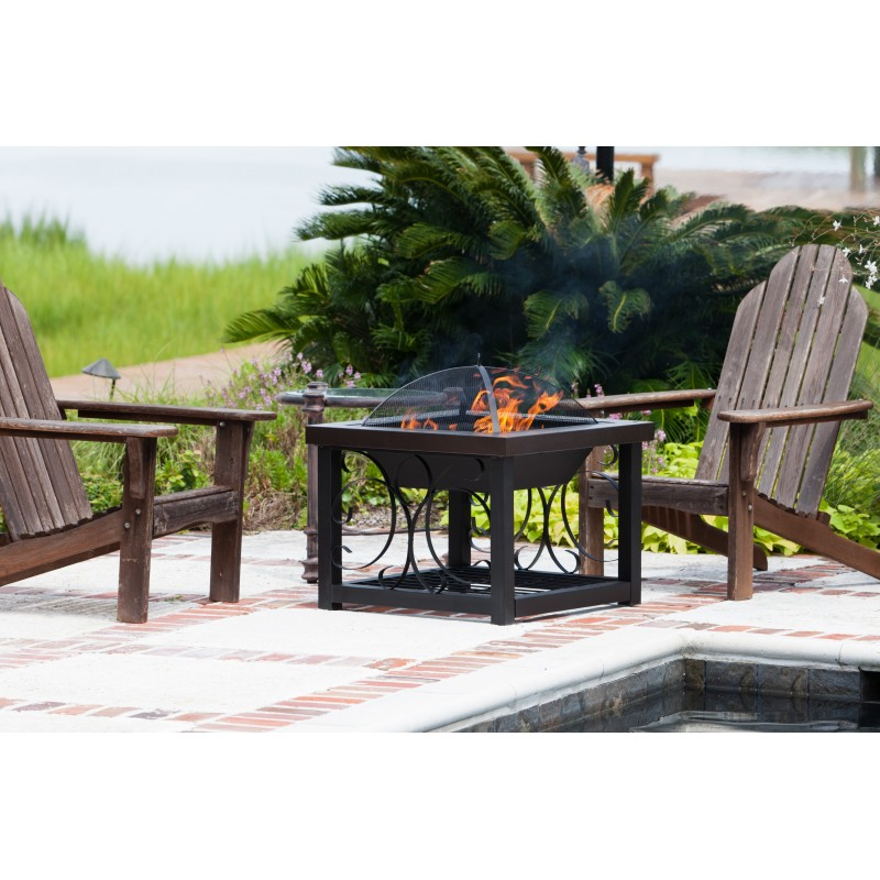 Fire Sense Hammer Tone Bronze Finish Cocktail Table Fire Pit (61331)