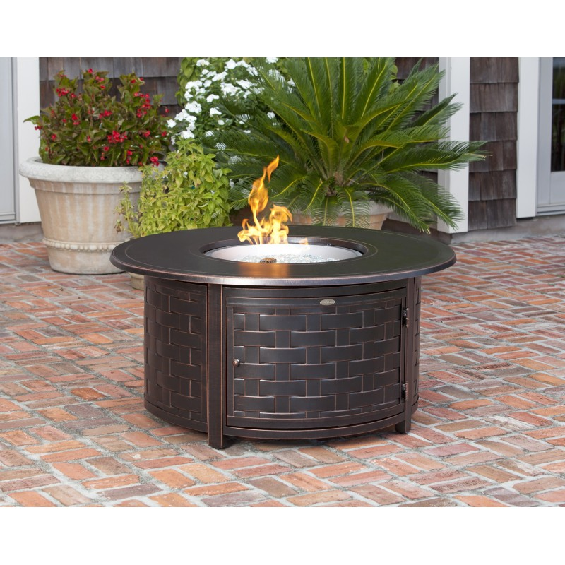 Fire Sense Perissa Woven Round Cast Aluminum LPG Fire Pit (62208)