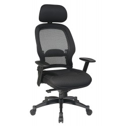Space Seating Professional AirGrid Back and Mesh Seat Chair with Adjustable Headrest (55403)