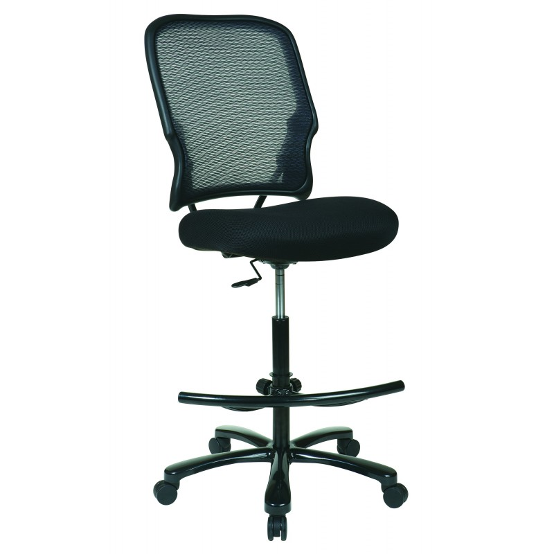 Space Seating Big Man's Dark AirGrid Back with Black Mesh Seat Double Layer Seat Drafting Chair (15-37A720D)