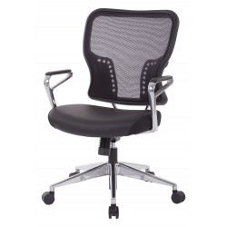 Space Seating Air Grid Back and Padded Bonded Leather Seat Chair (213-E37P91A7)