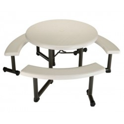 Lifetime 44 in. Round Picnic Table with 3 Swing-Out Benches 8 Pack (Almond) 2127