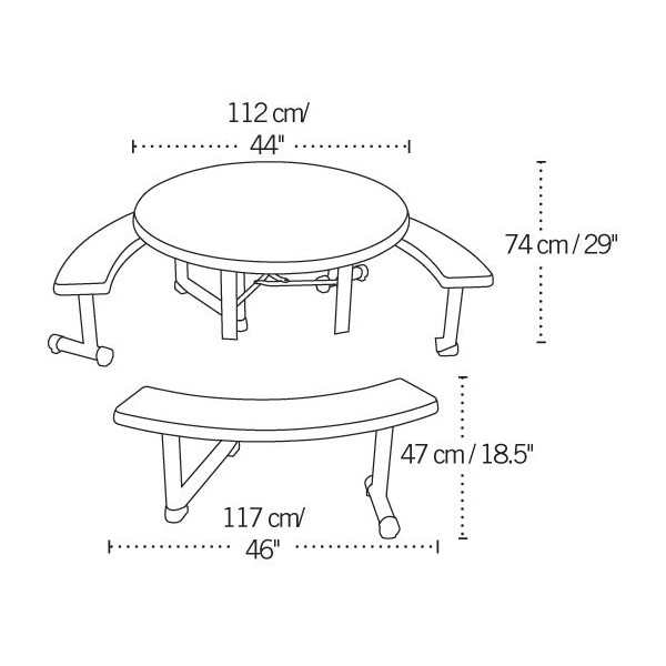 Charmant Round Picnic Table With 3 Swing Out Benches 8 Pack (