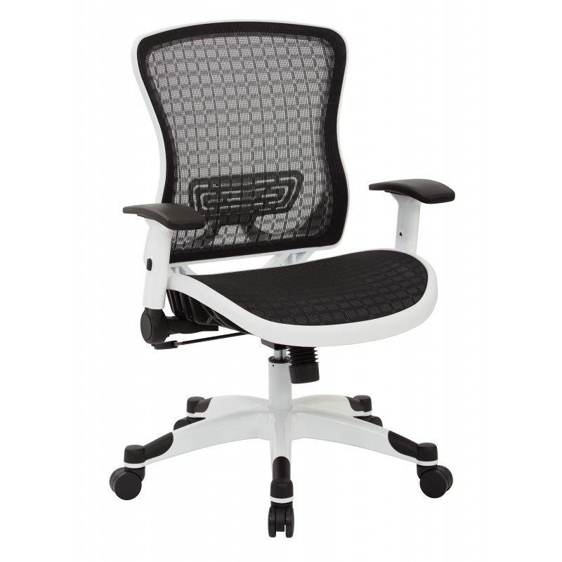 Space Seating White Breathable Mesh Back Managers Chair (525W-3W1N11F2W)