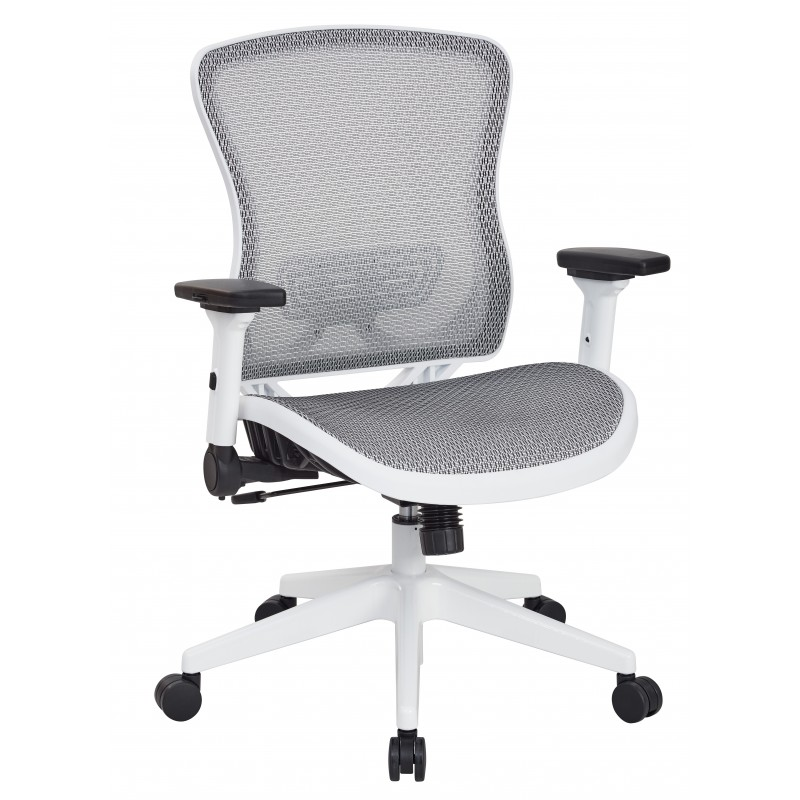 Space Seating White Breathable Mesh Back Chair (525W-W11N11F2W)