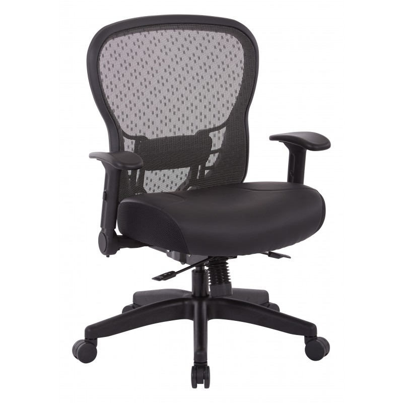 Space Seating R2 SpaceGrid Back Chair with Memory Foam Bonded Leather Seat (529-ME3R2N6F2)