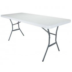Lifetime 6 ft. Light Commercial Fold-In-Half Table with Handle 14 Pack (Pearl White) 5011