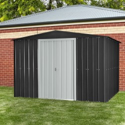 Globel 10'x 8' Gable Roof Metal Storage Shed - Steel Gray and Aluminum White (GL1000)