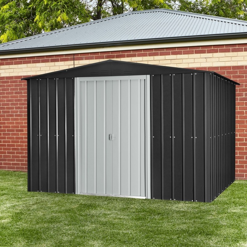 Globel 10'x 8' Gable Roof Metal Storage Shed - Steel Gray and Silver (GL1000)