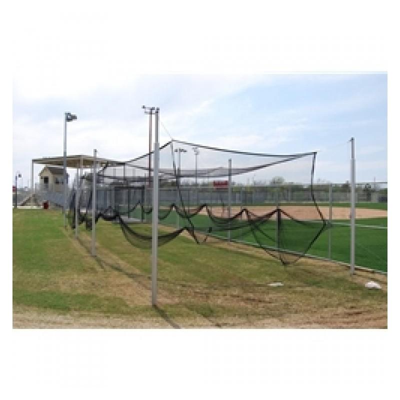 "Gared Outdoor Batting Cage Net, 12' W x 12' H x 55' L, Baseball/Softball, 1-3/4"" Black Mesh (4088)"