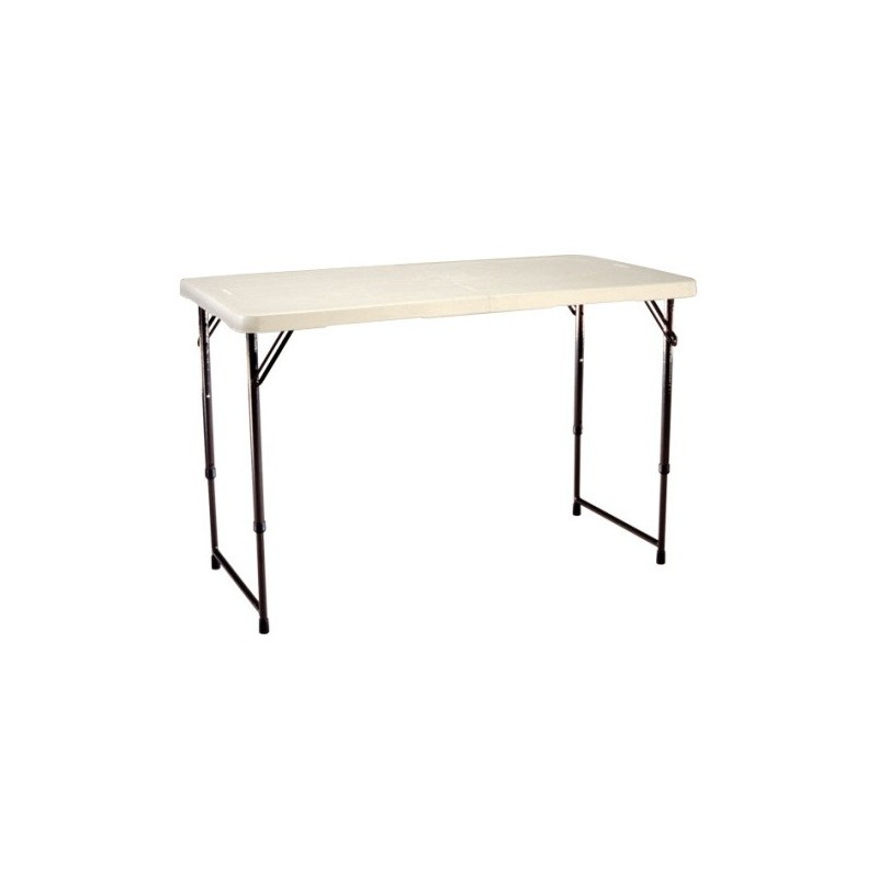 Lifetime 4 ft. Light Commercial Adjustable Height Fold-In-Half Table with Handle 24 Pack (Almond) 4429