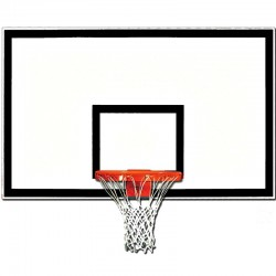 "Gared 42"" x 72"" Fiberglass Rectangular Backboard with Black Target & Border (1342B-BLK)"
