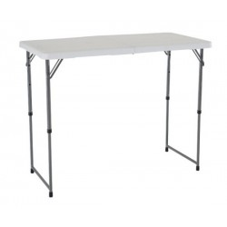 Lifetime 4 ft. Light Commercial Adjustable Height Fold-In-Half Table with Handle 24 Pack (White) 4435