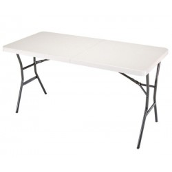 Lifetime 5 ft. Light Commercial Fold-In-Half Tables with Handle 14 Pack (White) 4534