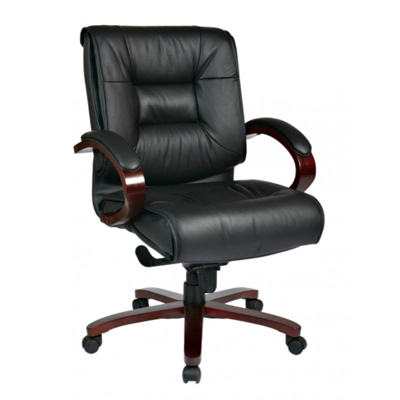 Pro Line II Deluxe Mid Back Executive Leather Chair - Black (8501)