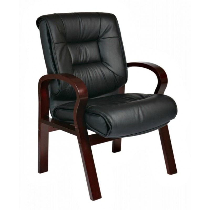 Pro Line II Deluxe Mid Back Leather Visitors Chair - Black Mahogany (8505)