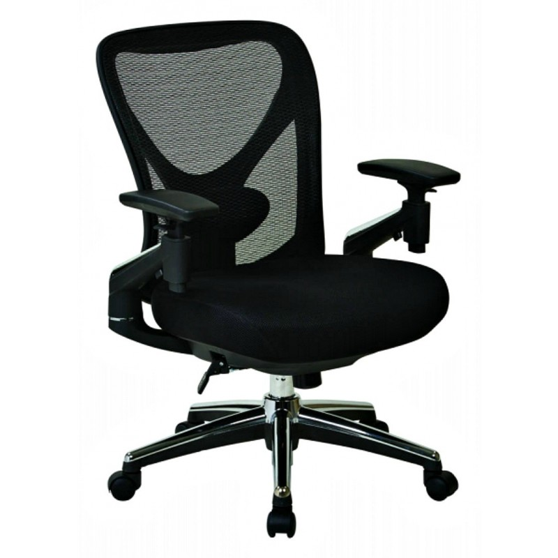 Pro Line II ProGrid Mesh Back Managers Chair with Leather Seat - Black (27284)
